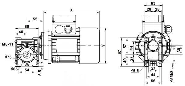 Чертеж: одноступенчатого червячного мотор-редуктора NMRV 030-5-280.0-0.06