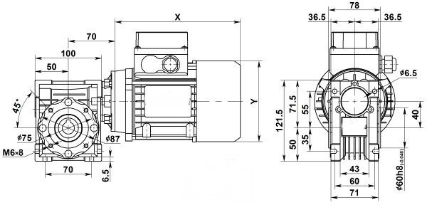 Чертеж: одноступенчатого червячного мотор-редуктора NMRV 040-5-560.0-0.75