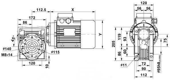 Чертеж: одноступенчатого червячного мотор-редуктора NMRV 075-7.5-373.3-4