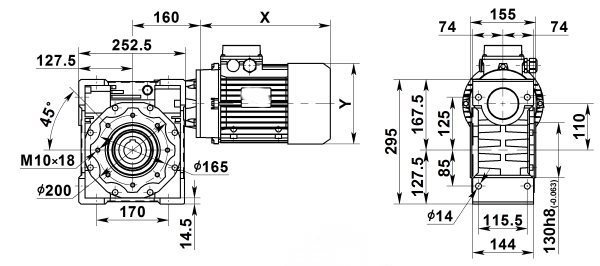 Чертеж: одноступенчатого червячного мотор-редуктора NMRV 110-7.5-186.7-7.5