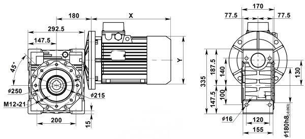 Чертеж: одноступенчатого червячного мотор-редуктора NMRV 130-7.5-186.7-7.5