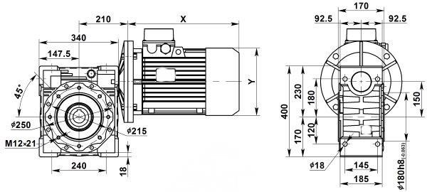 Чертеж: одноступенчатого червячного мотор-редуктора NMRV 150-20-70.0-7.5