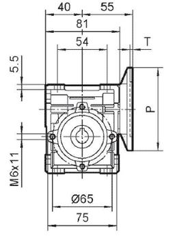 Чертеж: габаритн-присоединительные размеры одноступенчатого червячного редуктора NMRV 030