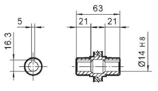 Чертеж: габаритно-присоединительные размеры одноступенчатого червячного редуктора NMRV 030