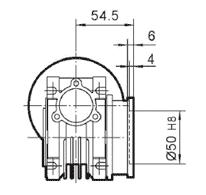 Чертеж: габаритн-присоединительные размеры выходного фланца FA для редуктора NMRV 030