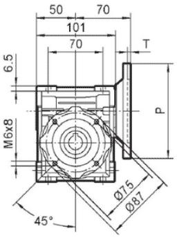 Чертеж: габаритн-присоединительные размеры одноступенчатого червячного редуктора NMRV 040