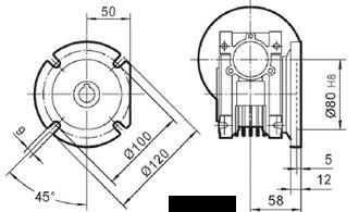 Чертеж: габаритн-присоединительные размеры выходного фланца FA для редуктора NMRV 040