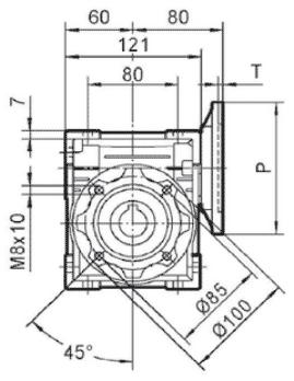 Чертеж: габаритн-присоединительные размеры одноступенчатого червячного редуктора NMRV 050