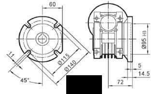Чертеж: габаритн-присоединительные размеры выходного фланца FA для редуктора NMRV 050
