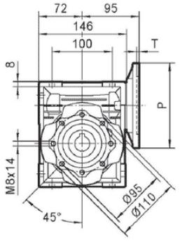 Чертеж: габаритн-присоединительные размеры одноступенчатого червячного редуктора NMRV 063
