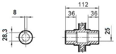 Чертеж: габаритно-присоединительные размеры одноступенчатого червячного редуктора NMRV 063