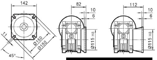 Чертеж: габаритн-присоединительные размеры выходного фланца FA для редуктора NMRV 063