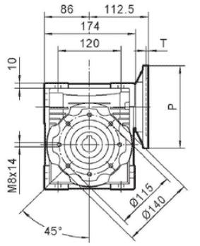 Чертеж: габаритн-присоединительные размеры одноступенчатого червячного редуктора NMRV 075