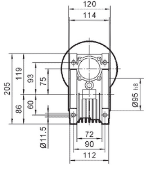 Чертеж: габаритно-присоединительные размеры одноступенчатого червячного редуктора NMRV 075