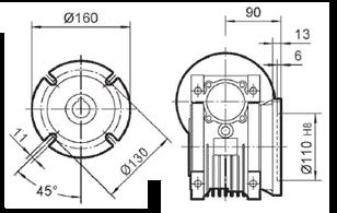 Чертеж: габаритн-присоединительные размеры выходного фланца FA для редуктора NMRV 075