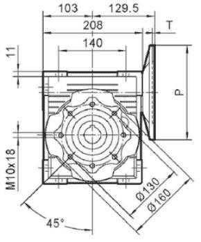 Чертеж: габаритн-присоединительные размеры одноступенчатого червячного редуктора NMRV 090