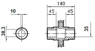 Чертеж: габаритно-присоединительные размеры одноступенчатого червячного редуктора NMRV 090