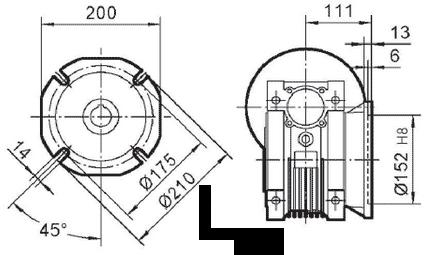 Чертеж: габаритн-присоединительные размеры выходного фланца FA для редуктора NMRV 090