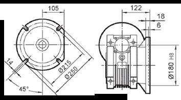 Чертеж: габаритн-присоединительные размеры выходного фланца FB для редуктора NMRV 090