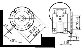 Чертеж: габаритн-присоединительные размеры выходного фланца FC для редуктора NMRV 090