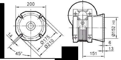 Чертеж: габаритн-присоединительные размеры выходного фланца FD для редуктора NMRV 090