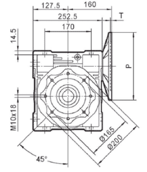 Чертеж: габаритн-присоединительные размеры одноступенчатого червячного редуктора NMRV 110
