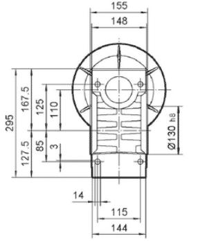 Чертеж: габаритно-присоединительные размеры одноступенчатого червячного редуктора NMRV 110