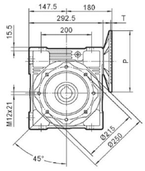 Чертеж: габаритн-присоединительные размеры одноступенчатого червячного редуктора NMRV 130
