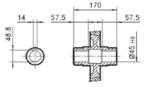 Чертеж: габаритно-присоединительные размеры одноступенчатого червячного редуктора NMRV 130