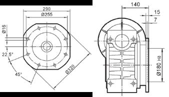Чертеж: габаритн-присоединительные размеры выходного фланца FA для редуктора NMRV 130