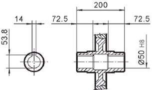 Чертеж: габаритно-присоединительные размеры одноступенчатого червячного редуктора NMRV 150