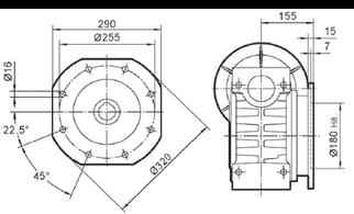 Чертеж: габаритн-присоединительные размеры выходного фланца FA для редуктора NMRV 150