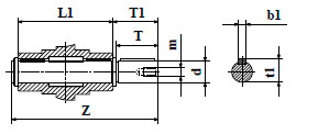 Чертеж: габаритн-присоединительные размеры выходного вала червячного редуктора NMRV 063