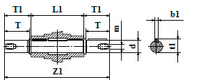 Чертеж: габаритн-присоединительные размеры выходного вала червячного мотор-редуктора NMRV 040