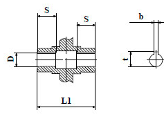 Чертеж: габаритн-присоединительные размеры входного вала червячного редуктора NMRV 063